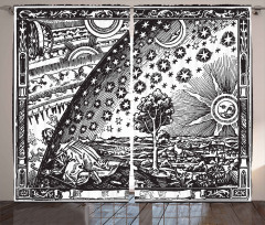 Ay Güneş ve Yıldızlar Fon Perde Antik