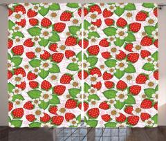 Çilekler ve Çiçekler Fon Perde Kırmızı Yeşil