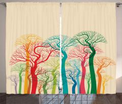Renkli Ağaç ve Dalları Fon Perde Dekoratif