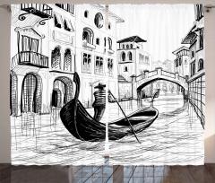 Venedik Binaların Arası Fon Perde Antik