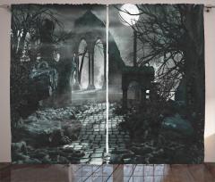 Taş Yol Antik Yıkıntı Fon Perde Gotik