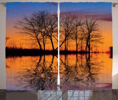 Yaprak Dökmüş Ağaçlar Fon Perde Göl Kıyısı