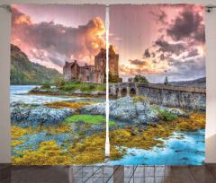 Antik Orta Çağ Kalesi Fon Perde Köprülü