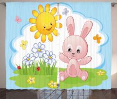 Sevimli Güneş ve Tavşan Fon Perde Sevimli