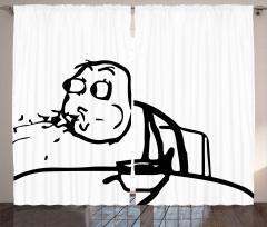 Yemek Püskürten Adam Fon Perde Karikatür