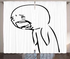 Hıçkırarak Ağlayan Adam Fon Perde Karikatür