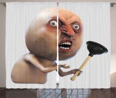 Kızgın Yüzlü Adam Fon Perde 3D Efektli