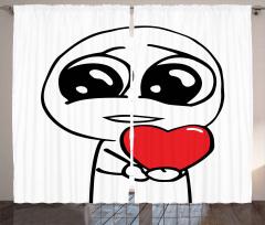 Aşık Adam ve Kalp Fon Perde Karikatür