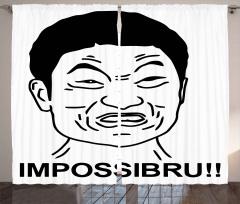 İmkansız Diyen Japon Fon Perde Karikatür