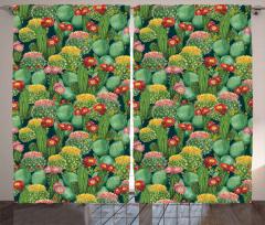 Renkli Çiçekli Kaktüs Fon Perde Yeşil Doğa