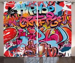 Rengarenk Grafiti Fon Perde Sokak Sanatı