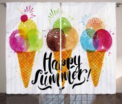 Dondurma Külahı Desenli Fon Perde Mutlu Yaz