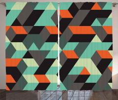 Şık Geometrik Desenli Fon Perde 3D Etkili