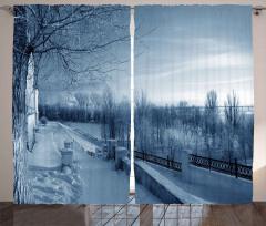 Rusya'nın Karlı Ormanı Fon Perde Kış Gökyüzü