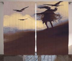 Çölde Uçan Kargalar Fon Perde Sulu Boya