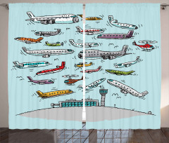 Uçak Trafiği Desenli Fon Perde Karikatür Etkili
