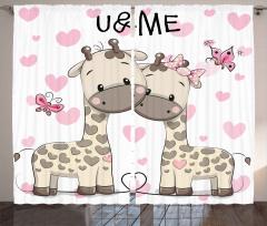 Aşık Zürafa ve Kelebek Fon Perde Romantik