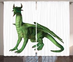 Yeşil Ejderha Desenli Fon Perde 3D Fantastik
