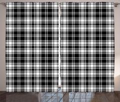 Ekoseli Desen Fon Perde Dekoratif Siyah Beyaz