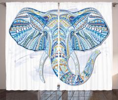 Etnik Desenli Mavi Fil Fon Perde Dekoratif Şık
