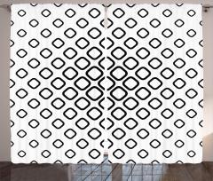 Siyah Beyaz Geometrik Fon Perde Kareli Şık