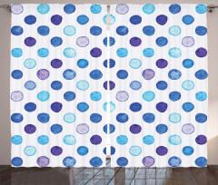 Mavi Puantiye Desenli Fon Perde Sulu Boya Efektli
