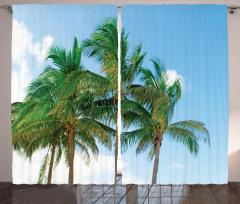 Gökyüzü ve Palmiyeler Fon Perde Bulut Şık Tasarım