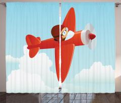 Pervaneli Kırmızı Uçak Fon Perde Bulut Gökyüzü