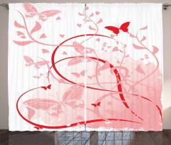Kalpler ve Kelebekler Fon Perde Pembe Kırmızı