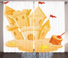 Kumdan Kale Desenli Fon Perde Sarı Dekoratif