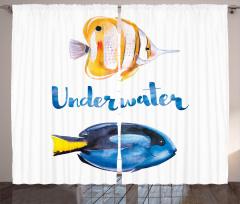 Mavi Sarı Balık Desenli Fon Perde Sulu Boya Etkili