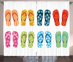 Rengarenk Parmak Arası Terlikler Fon Perde Yaz