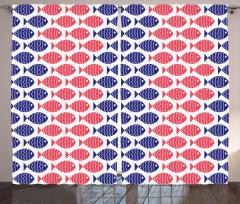 Kırmızı Mavi Balıklar Fon Perde Dekoratif Şık