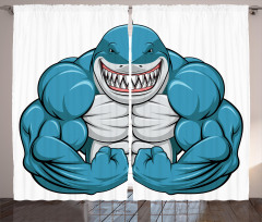 Kaslı Köpek Balığı Fon Perde Mavi Hayvan