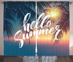 Yaza Merhaba Desenli Fon Perde Palmiyeler ve Güneş