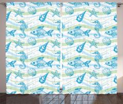 Deniz Canlıları Desenli Fon Perde Mavi Yeşil Şık