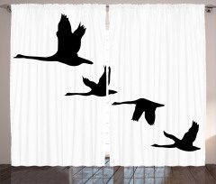 Gökyüzünde Uçan Kuşlar Fon Perde Siyah Beyaz Şık