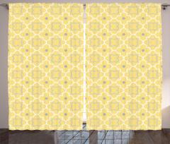Dekoratif Yonca Desenli Fon Perde Sarı Şık Tasarım
