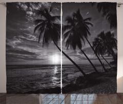 Denizde Gün Batımı Fon Perde Palmiyeler Siyah