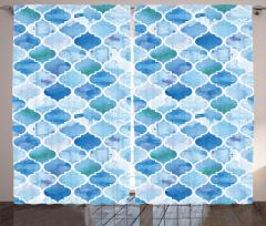Dekoratif Fas Desenli Fon Perde Mavi Şık Tasarım