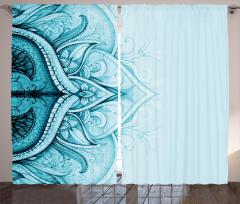 Dantel Desenli Fon Perde Mavi Etnik Şık Tasarım