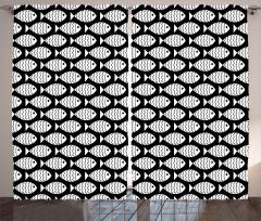 Siyah Beyaz Balık Fon Perde Dekoratif
