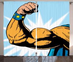Kaslı Erkek Desenli Fon Perde Karikatür Etkili