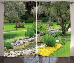 Japon Bahçesi Manzarası Fon Perde Meditasyon