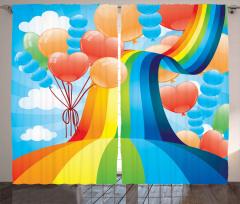 Gökkuşağı ve Balonlar Fon Perde Rengarenk
