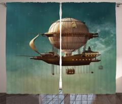 Fantastik Uçak Gemisi Fon Perde Steampunk Stili