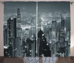 Hong Kong'da Bir Gece Fon Perde Gökdelenler