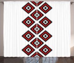 Şık Aztek Desenli Fon Perde Etnik Geometrik