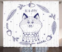 Mutlu Tilki Desenli Fon Perde Karikatür Efektli