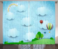 Sıcak Hava Balonları Fon Perde Gökkuşağı Bulut